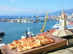 Genoa, Italy August 10, 2016: view of some slices of focaccia Stock Footage