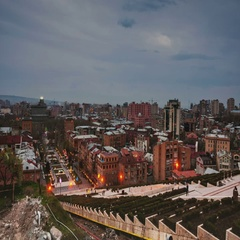Night in Yerevan, Armenia from Cascade. Time-lapse at sunset Stock Footage