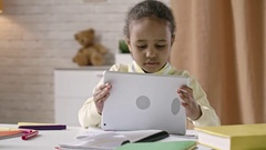 Little Cutie Using Tablet Stock Footage