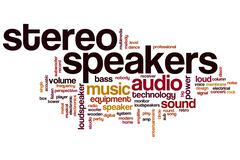 Stereo speakers word cloud Stock Illustration