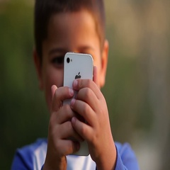 Little boy photographs you Stock Footage
