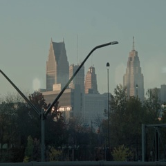 Early morning sun against the Detroit Skyline. Stock Footage