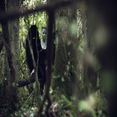 4k Halloween Dark Angel Woman with Black Wings in Forest Hidding Arkistovideo