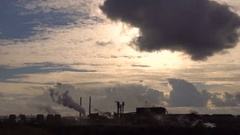 Air Pollution From Large Factory Industry. Counter Sunlight. Wide Angle Stock Footage