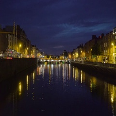 The city of Dublin taken at a nightscape Stock Footage
