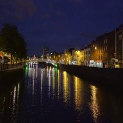 The beautiful Dublin city taken at night Stock Footage