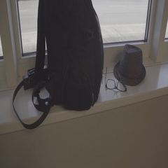 Belongings of the tourist against the Windows of the airport Stock Footage