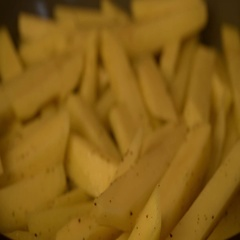 French fries in boiling oil Stock Footage