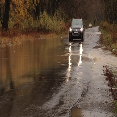 The car drove flooded road Stock Footage