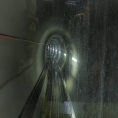 Metro tunnel timelapse made from windshield window of the first wagon Stock Footage