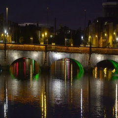 View of the city of Dublin at night Stock Footage