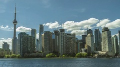 Toronto Skyline CN Tower Buildings Hyperlapse Rolling Clouds Original Stock Footage