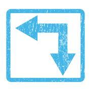 Bifurcation Arrow Left Down Icon Rubber Stamp Stock Illustration