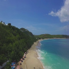 4K hovering aerial overview at Baie Rouge, St Maarten, Okt 2016 Stock Footage