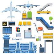 Airport symbols vector set. Stock Illustration