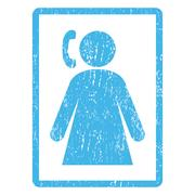 Calling Woman Icon Rubber Stamp Stock Illustration