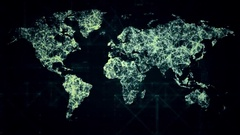 HUD world map from dots and lines. Futuristic look. Hud design Stock Footage