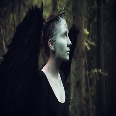 4k Halloween Dark Angel Woman with Black Wings in Forest Looking Up Stock Footage