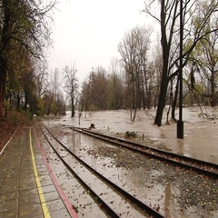 The river flooded railway tracks Stock Footage