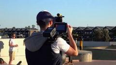 Melbourne, St Kilda -  FilmMaker with Camera Stock Footage