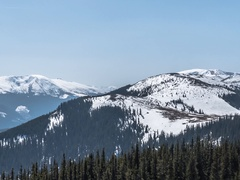 Panorama with forested mountains over which was strewn. Stock Footage