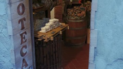 Traditional cheese and salumi cold cuts shop in San Gimignano, Tuscany, Italy Stock Footage