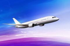 Flying plane in beautiful sky Stock Illustration