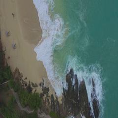 4K aerial looking down at waves at Baie Rouge, St Maarten, Okt 2016 Stock Footage