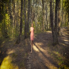 Young girl in a pink dress is walking in the woods Stock Footage