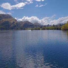 Queenstown Lake in New Zealand Stock Footage