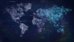 HUD cyber design of world map from dots and lines. Futuristic look design Stock Footage