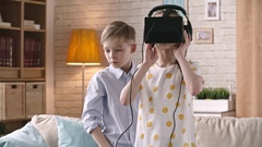 VR Technology for Youngsters Stock Footage