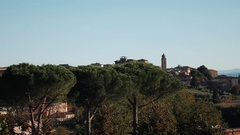 Panorama of Siena, with the Duomo and Torre del Mangia Tower Stock Footage