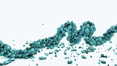 3d motion graphics, isolated wave made of geometric objects - cubes, cones Stock Footage