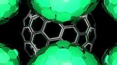 Hexxa visuals behind Spheres rotating on the beat around HEXXA sphere Stock Footage