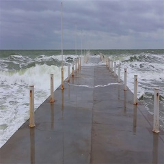 Waves crashing at the breakwater  Stock Footage