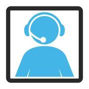 Call Center Operator Framed Vector Icon Stock Illustration