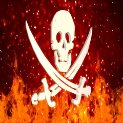 HD Loopable Background with nice rotating pirate symbol Stock Footage