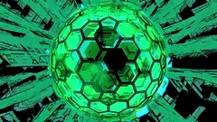 Hexxa visuals Sphere rotating zooming out with shapes moving on the beat Stock Footage