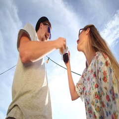 Pretty woman and hipster with funny moustache looking down at camera and dancing Arkistovideo