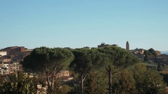 Wide Panorama fo Siena, Torre del mangia Tower and Cathedral Stock Footage