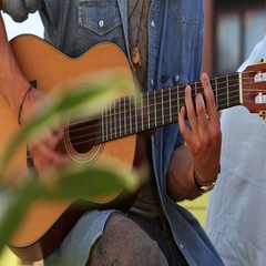 Close up of man's hands playing guitar Stock Footage