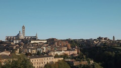 Wide shot of Siena skyline with the Cathedral Stock Footage