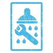 Shower Plumbing Icon Rubber Stamp Stock Illustration