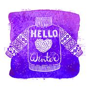 Hello winter text and knitted wool sweater with a heart on watercolor background Stock Illustration