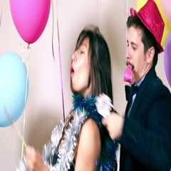 Cool couple dancing with props Stock Footage