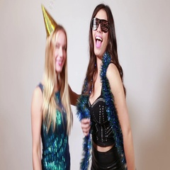 Two attractive girls dancing and sending kisses Stock Footage