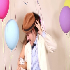 Couple fainting from too much dancing in party photo booth Stock Footage