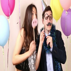 Funny crazy couple dancing with props Stock Footage