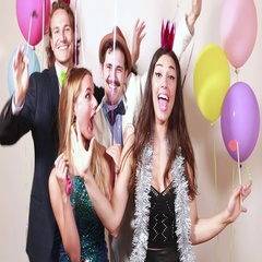Group of funny crazy friends in photo booth Stock Footage